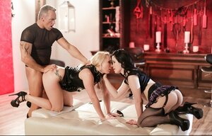 Pumped stallion gets down and additionally dirty submissive blonde with huge butt and additionally coed in stockings
