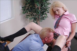 Gal gives principal blowjob after makes convinced that man is first-class at cunnilingus