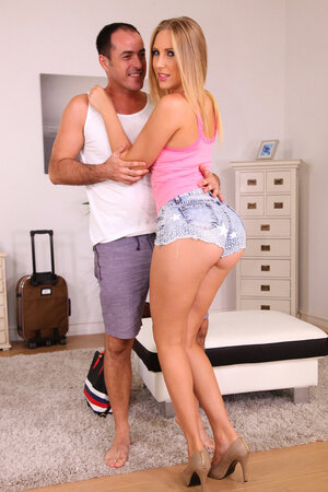 Stunning blonde babe with fantastic butt visits stranger for the first time