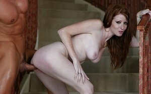 Sexy ginger with hot freckled face and furthermore natural red hair banged on the stairs