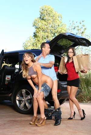 Soccer mom catches husband making love her immature stepdaughter right behind her car