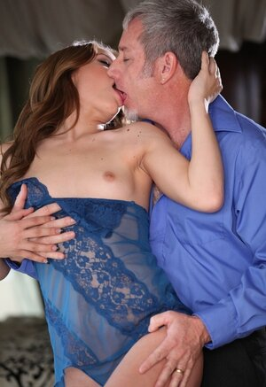 Redhead has youthful body hungrily fondled by more aged womanizer hungry for boobies