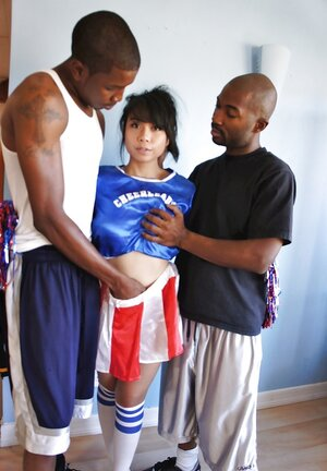 Oriental cheerleader Might Lee has three-way with black players from local team
