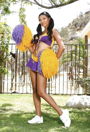Exotic cheerleader with cute hair can't resist flv good-looking boobs