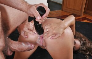 Nasty young and fresh slut with beads around neck takes hard dick in both holes