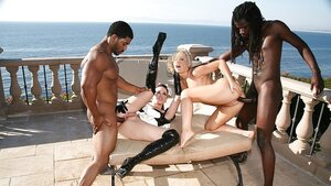 Blonde female of the house and brunette maid got enjoyable interracial foursome