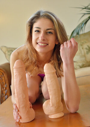 Young and fresh female asks guy to help her shove sizeable sex toys into her cunt
