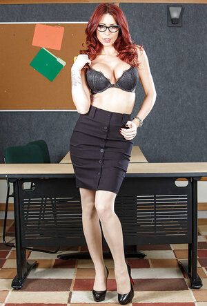 Nerdy teacher Monique Alexander with red hair looks like a lascivious hoe